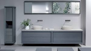 superb round mirror on plain wall for modern bathroom vanity with