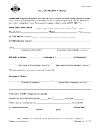 free north carolina vessel bill of sale form download pdf word
