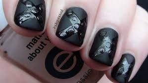 black matte nails with glitter nail art tutorial youtube 25 best