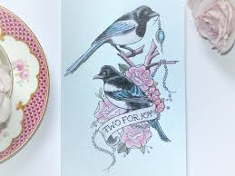 handmade wedding card two for joy magpie tattoo vickilicious