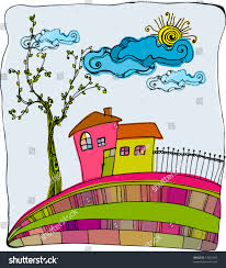 vector illustrated cute little house on hill 51661480 shutterstock