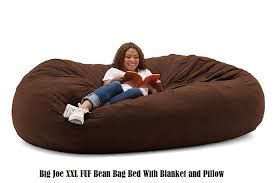 big joe xxl fuf bean bag bed with blanket and pillow png