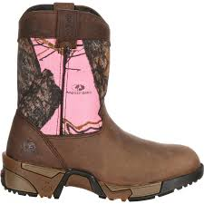 justin light up boots 8 rocky kids pink camo aztec pull on wellington boots