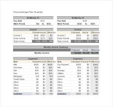 sample monthly budget sample bi weekly personal budget template
