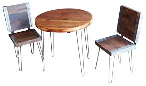 Rustic Patio Tables Reclaimed Round Restaurant Table With 2 Industrial Chairs Rustic