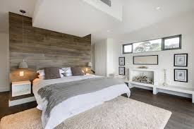 minimalist wood panel bedroom wall