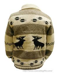 and white knitted with 100 wool sweater moose design