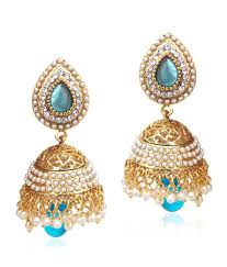 jumka earrings buy ethnic pearl jhumka earrings with turquoise firozi stones on