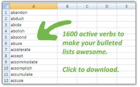 1600 action verbs u0026 a quick note on bullet points blog the