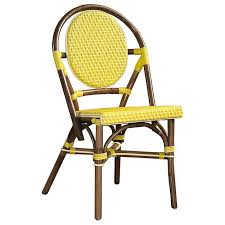 Yellow Bistro Chairs Bistro Chair Brown Rattan Frame Yellow Set Of 2 Dcg