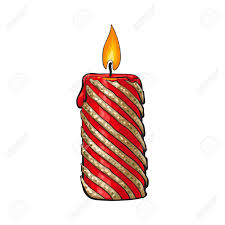 Burning Red Flag Burning Christmas Candle Cartoon Illustration Isolated On White
