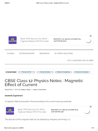 cbse class 12 physics notes magnetic effect of current