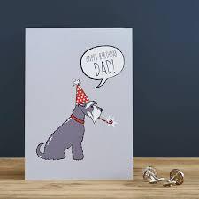 grey schnauzer dad birthday card by sweet william designs