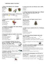 intermediate esl worksheets christmas around the world