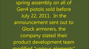glock recall gen4 recoil spring exchange info youtube
