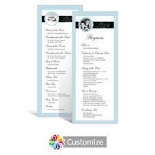 tea length wedding programs custom color wedding reception programs
