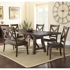 Bench Dining Set Steve Silver Clapton 6 Piece Dining Set With Bench And X Motif