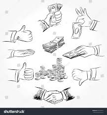 handshaking two business meaning successful freehand stock vector