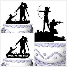 halloween wedding groom and bride wedding cake topper silhouette