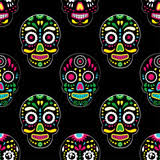 day of the dead colorful sugar skull with floral ornament and