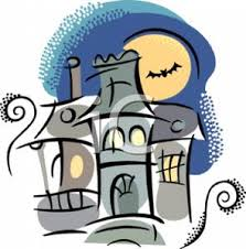 pictures of cartoon haunted houses of a haunted house under a full moon a bat flying in the sky