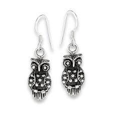 owl earrings silver owl earring
