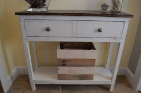 Narrow Entry Table White Wooden Entryway Table With Brown Top And Drawers Also