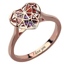 rose promise rings images Heart cage ring with birthstones in rose gold engraved mother 39 s jpg