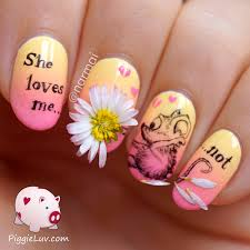piggieluv u0027she loves me not u0027 nail art with real daisy