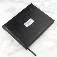 leather guest book personalised black leather guest book