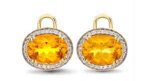 mcdonough citrine drop earrings lyst mcdonough oval citrine diamond earring drops in yellow