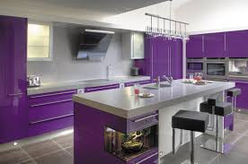 cuisine mauve contemporary kitchen design with purple kitchen cabinets and gray