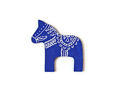 royal blue ornament swedish dala wood ornament