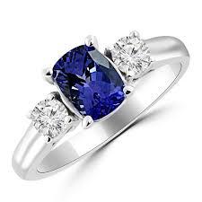 tanzanite stones rings images 2 carat cushion tanzanite diamond 3 stone engagement ring jpg