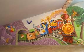 fresque murale chambre bébé murale chambre enfant locomotive animaux girafes elephant ours