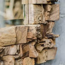 Teak Wood Haslam Rustic Lodge Raw Teak Wood Artisan Rectangular Mirror