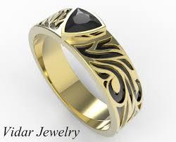 unique metal rings images Black diamond trillion cut wedding ring vidar jewelry unique jpg