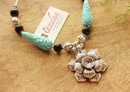 handmade designer jewellery flower turquoise silver tone handmade designer necklace set online