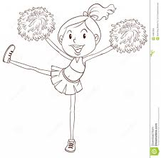 drawing of a cheerleader coloring page for sports kids