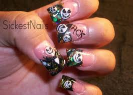 my halloween acrylic nails 3d jack skellington inspired nails 4