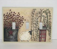 bucket berries lamb red salt box house triple switch plate cover