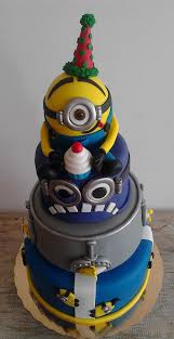 3 Tiered Halloween Cakes Minion Birthday Cake 3 Tiers Minion Yellow Cakecentral Com