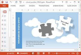 animated cloud puzzle powerpoint template