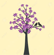card with floral tree and love bird royalty free cliparts vectors