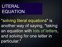 transforming formula variables on both sides literal equation