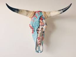 pin up art wall decor longhorn cow skull turquoise mosaic