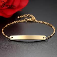 personalized bracelets for gold flat bar charm bracelet women custom engraved name bracelet