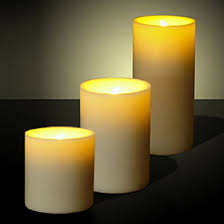 pack of three led candles with flickering light