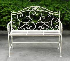 Shabby Chic Patio Decor by Wrought Irin Bench White Wrought Iron Shabby Chic Garden