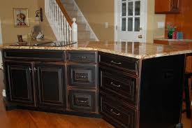 black distressed kitchen cabinets i think this will look great